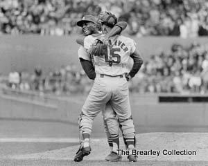 Bob Gibson And Tim McCarver Celebrate 1967 World Series Championship